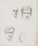 Alternate image of recto: Three self portraits and the profile of a woman verso: Five self portraits and the profile of a woman by Lloyd Rees