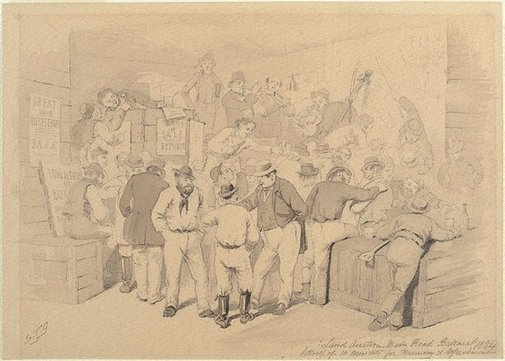 An image of Land auction, main road Ballarat - interval of ten minutes for harmony and refreshment by S T Gill
