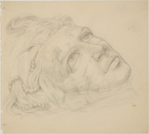 An image of (Study for monumental head in foreground) by James Gleeson