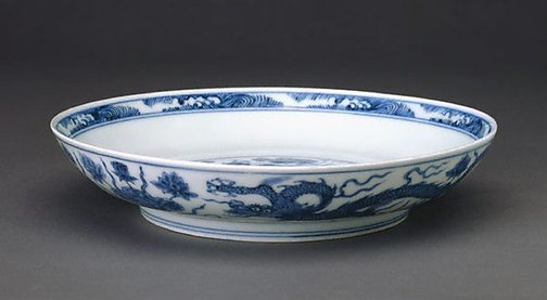 An image of Dish with dragon swimming among the lotus by Jingdezhen ware
