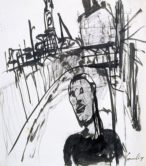 An image of Haymarket drawing (man near Central Station) by Kevin Connor