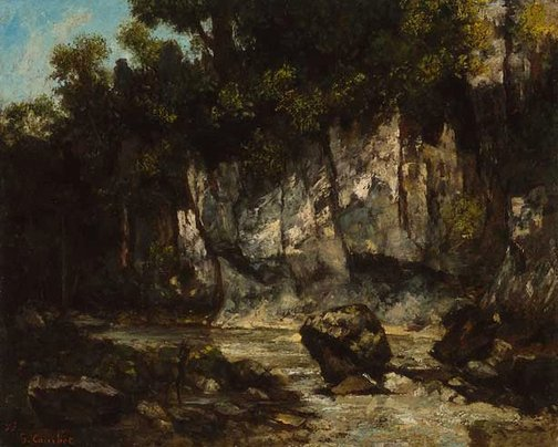 An image of Landscape with stag by Gustave Courbet
