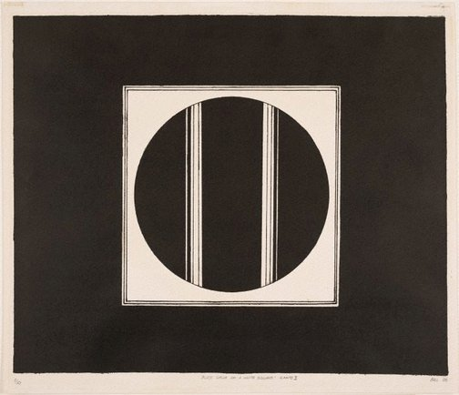 An image of Black circle on a white square – Canto II by Sydney Ball