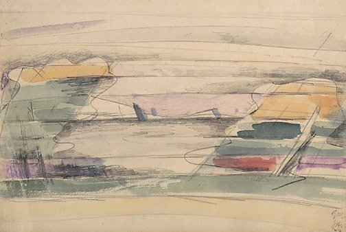 An image of Study for 'Landscape with orange cliffs' by Godfrey Miller