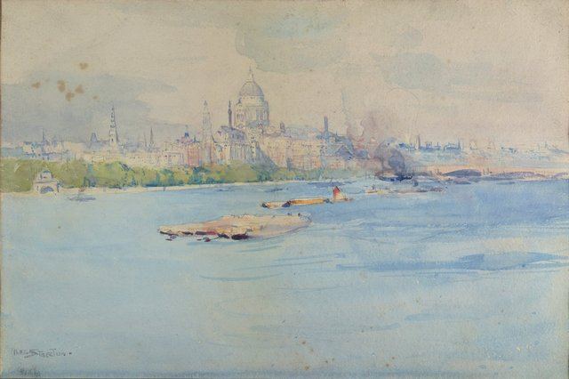 An image of St Pauls from the river Thames