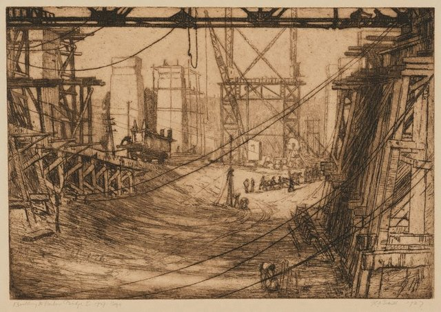 An image of Building the Harbour Bridge I, beginnings