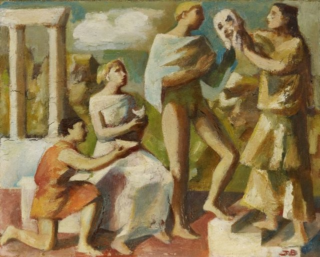 An image of Figures in a classical landscape