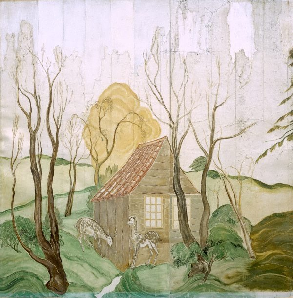 An image of (House and fisherman, woodland and deer, lake)