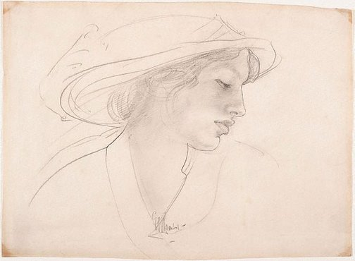 An image of Woman's head by George W Lambert