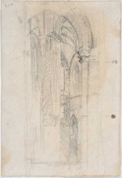 An image of recto: Hermes verso: Corner of St John's Cathedral interior by Lloyd Rees