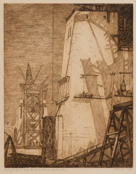 An image of Building the Harbour Bridge III, the granite workers, April 1929 by Jessie Traill