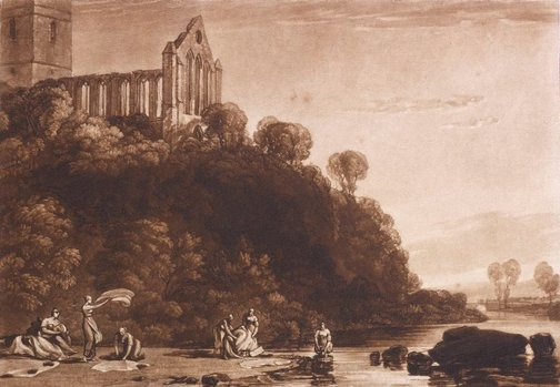 An image of Dumblain Abbey, Scotland by Joseph Mallord William Turner
