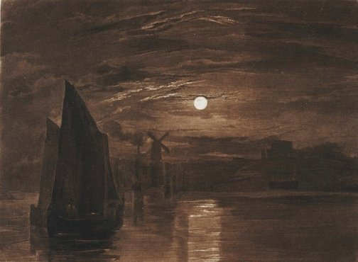 An image of Moonlight on the Medway by Joseph Mallord William Turner