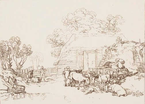 An image of The straw yard by Joseph Mallord William Turner