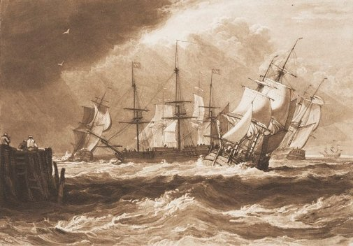 An image of Ships in a breeze by Joseph Mallord William Turner