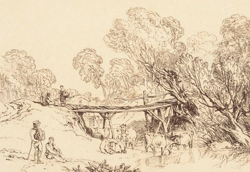 An image of Bridge and cows by Joseph Mallord William Turner