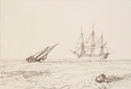 An image of The leader sea piece by Joseph Mallord William Turner