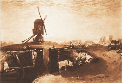 An image of Windmill and Lock by Joseph Mallord William Turner