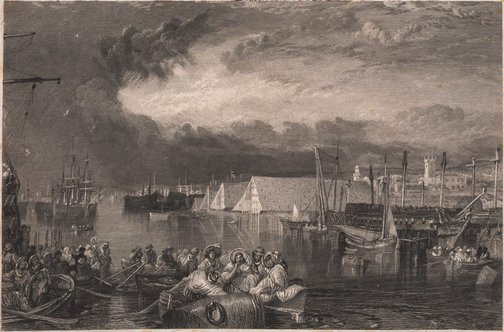 An image of Devonport and dockyard, Devonshire by Unknown, after Joseph Mallord William Turner
