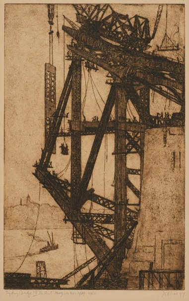 An image of Building the Harbour Bridge IV: the ants' progress, November 1929 by Jessie Traill
