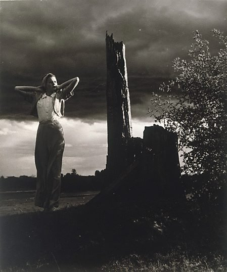 An image of Untitled (Woman by tree stump) by William Buckle