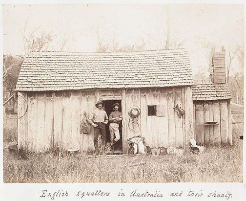 An image of English squatters in Australia and their shanty by Unknown