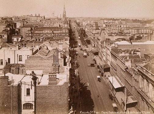 An image of Collins Street, Melbourne by Unknown