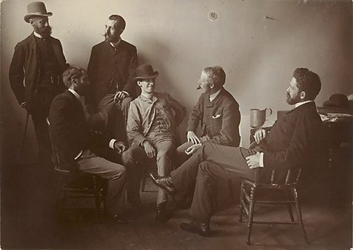 "An image of Group portrait of Fred B Schell, W C Fitler, ""Hop"" (L Hopkins), Phil May, Julian Ashton, W T Smedley by A Syer"