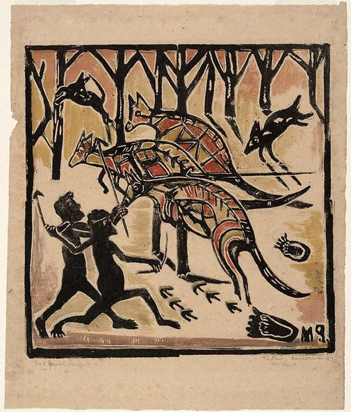 An image of Australian legend, number 3: The kangaroo hunt by Margaret Preston