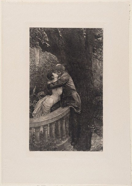 An image of Kiss (in the park) by Max Klinger