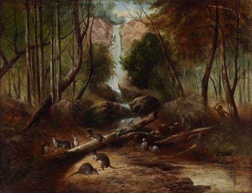An image of (Bush landscape with waterfall and an aborigine stalking native animals, New South Wales) by John Skinner Prout