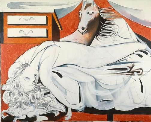 An image of The nightmare (after Fuseli) by Charles Blackman