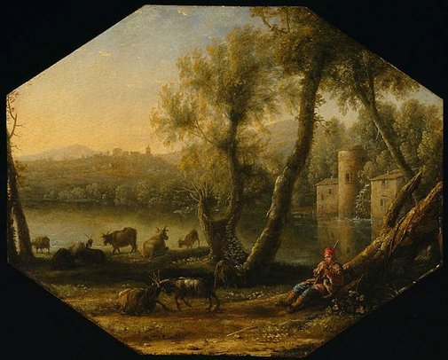 An image of Pastoral landscape by Claude Lorrain