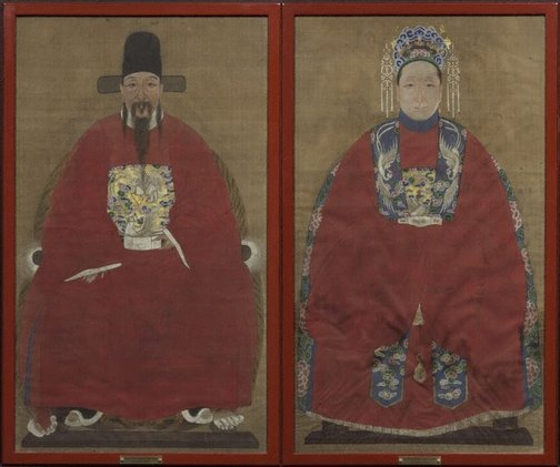 An image of A pair of husband and wife funerary portraits by