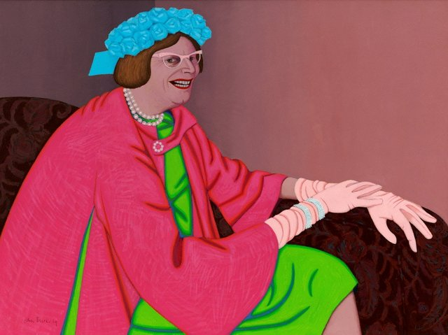 An image of Barry Humphries in the character of Mrs Everage