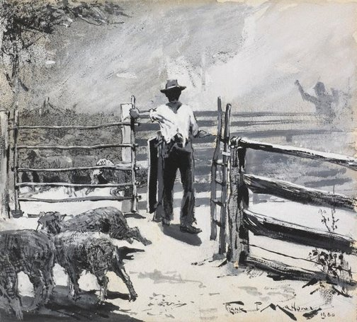 An image of Drafting sheep by Frank Mahony