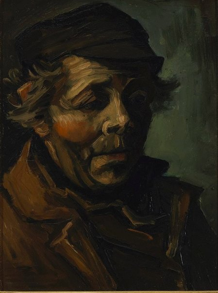 An image of Head of a peasant by Vincent van Gogh