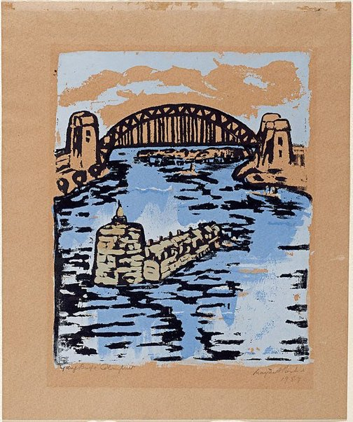 An image of Sydney bridge by Margaret Preston
