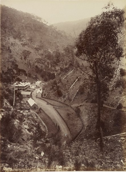 An image of Caves House from the Grand Arch, Jenolan Caves, New South Wales by Henry King