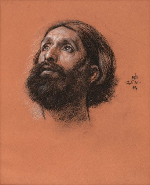 An image of Study of a bearded male head, looking up by Sir Edward John Poynter