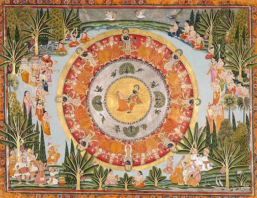 An image of Circular dance of Krishna and the 'gopis' by