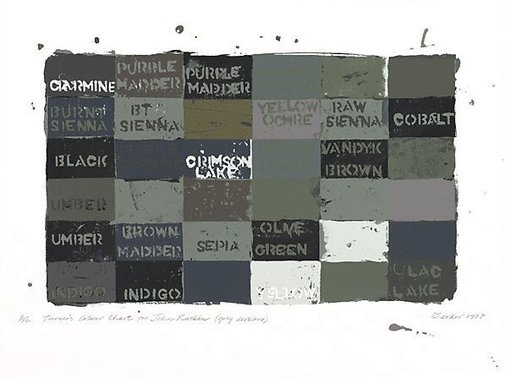 An image of Turner's colour chart for John Ruskin (Grey version) by George Barker