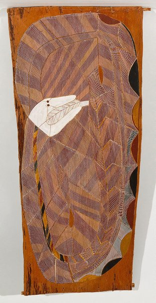 An image of Njalyod - the rainbow serpent by John Mawurndjul