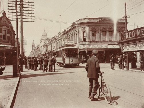 An image of Starting the trams Hay Street, Perth by Alfred Pickering