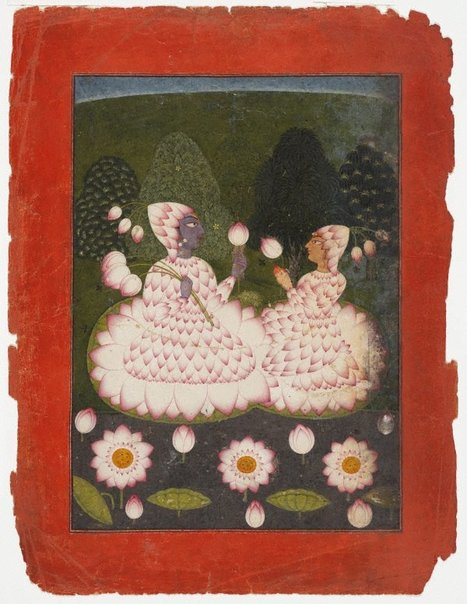 An image of Lotus-clad Radha and Krishna by
