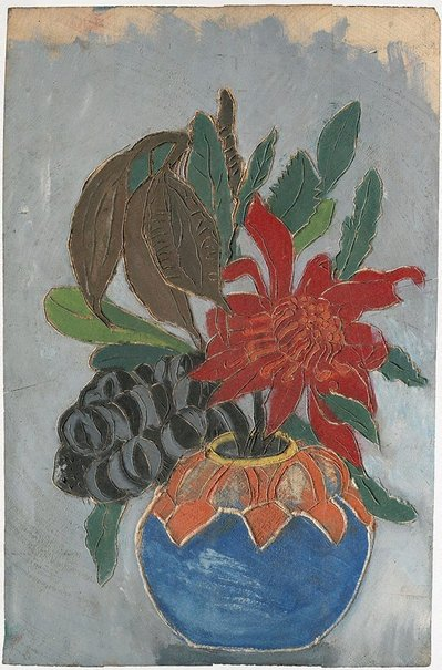 An image of recto: Woodblock for 'Banksia, Kurrajong pods, waratah in round vase' verso: Woodblock for 'Waratah round vase' by Margaret Preston