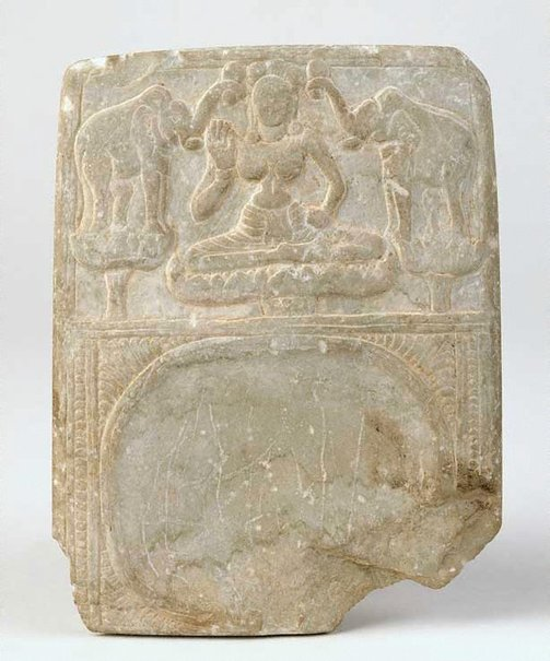 An image of Cosmetic tray with image of Lakshmi lustrated by elephants (Gajalakshmi) by