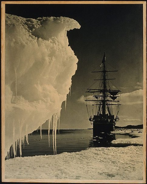 An image of The Terra Nova at the Icefoot Antarctica by Herbert Ponting