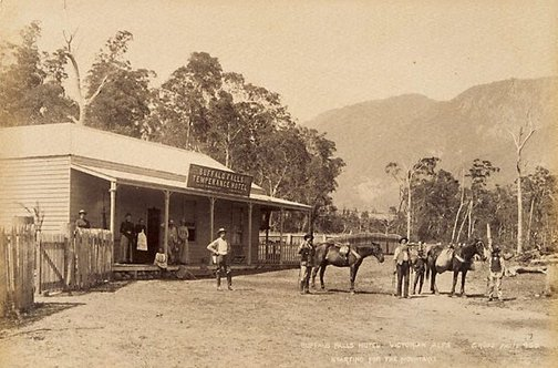 An image of The Buffalo Falls Hotel, Victorian Alps. Starting for the mountains by Charles Rudd