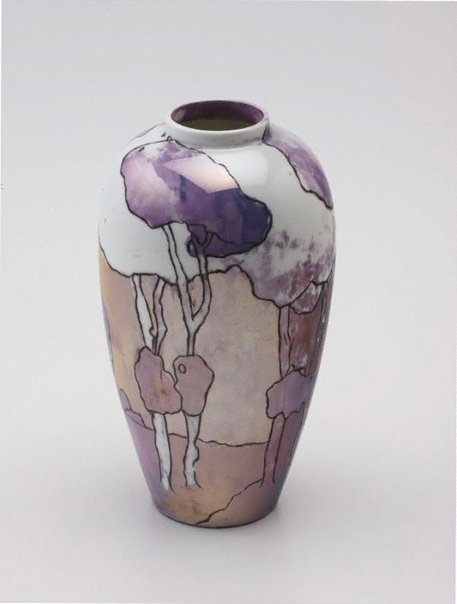 An image of Vase with landscape and tree design by Ada Ione Newman
